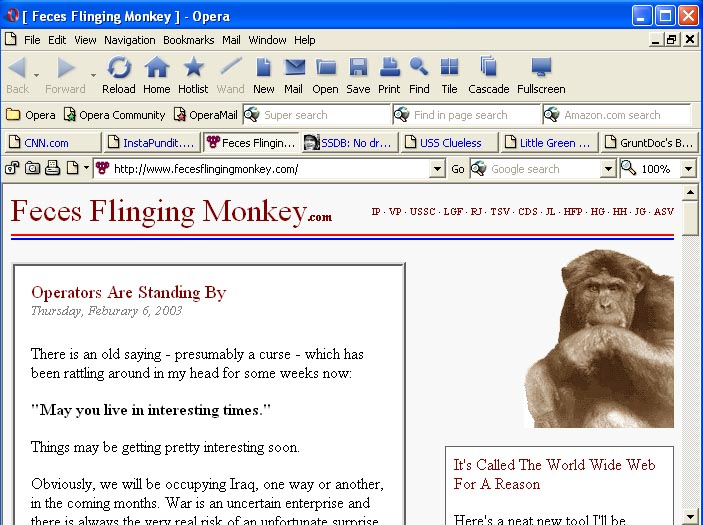 Opera 7 screenshot; Feces Flinging Monkey